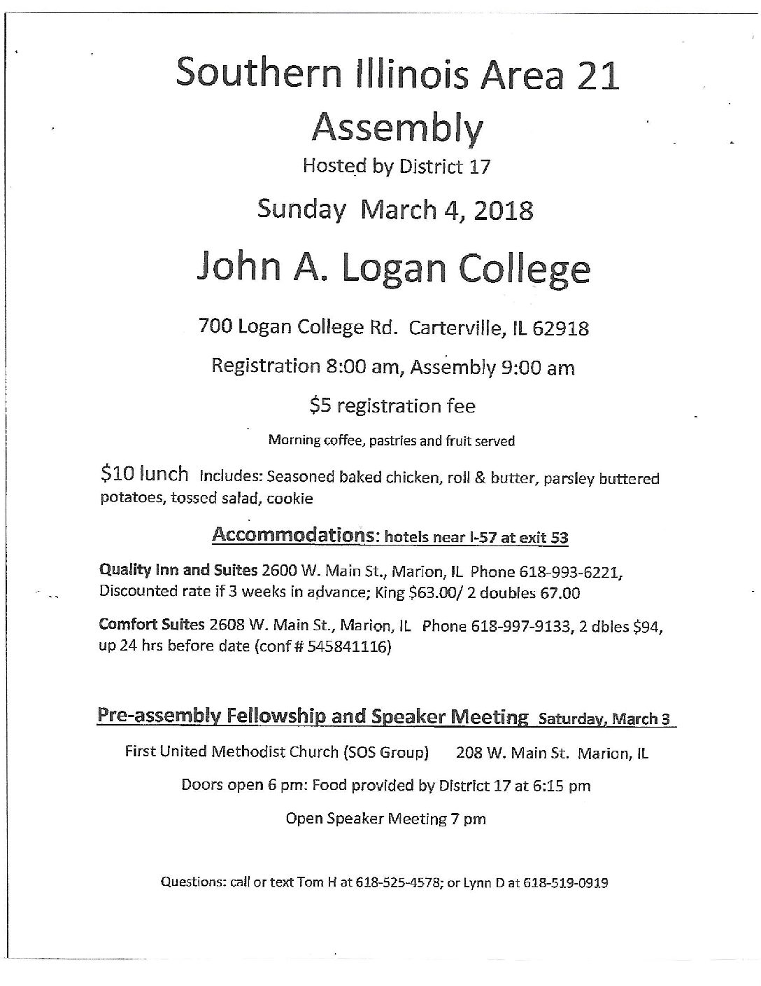 SIA Area 21 Assembly @ John A Logan College | Carterville | Illinois | United States